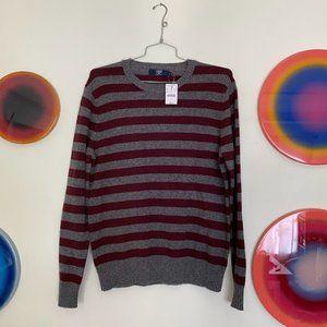 J. Crew 100% Lambswool Grey Striped Sweater